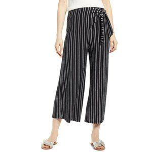 FAVOR Tie Waist Stripe Wide Leg Crop Pants PC67